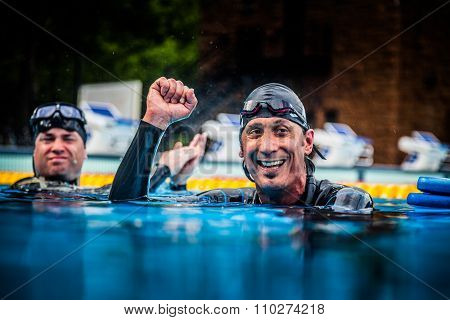 Happy Freediver Celebrating The Succes Of His First Place And Record.
