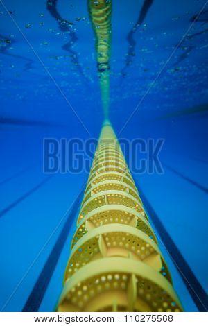 Plastic Swimming Pool Floating Wave-Breaking Lane Line detail from Underwater