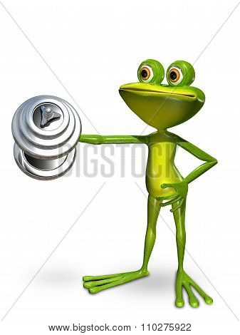 Frog In Front Of A Dumbbell Lifts
