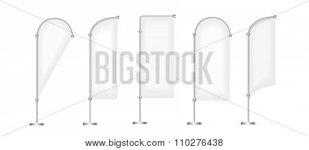 Flag blank banner stand display, Marketing and canvas, set of promotion banners