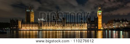 Palace Of Westminster In London At Night