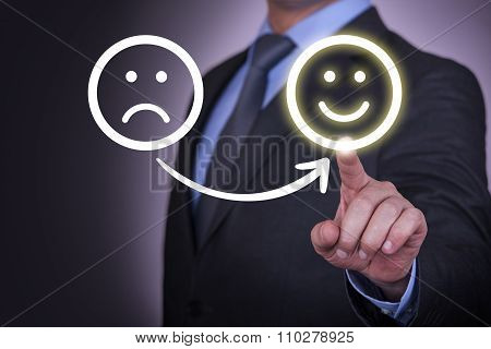 Unhappy and Happy Smileys on Visual Screen