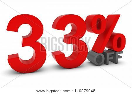33% Off - Thirty Three Percent Off 3D Text In Red And Grey