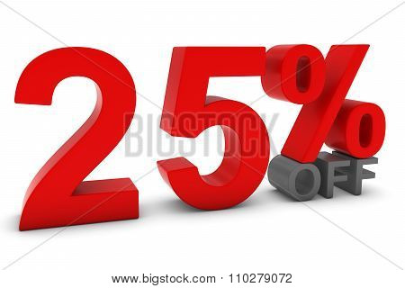25% Off - Twenty Five Percent Off 3D Text In Red And Grey