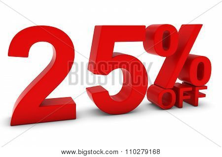 25% Off - Twenty Five Percent Off 3D Text In Red