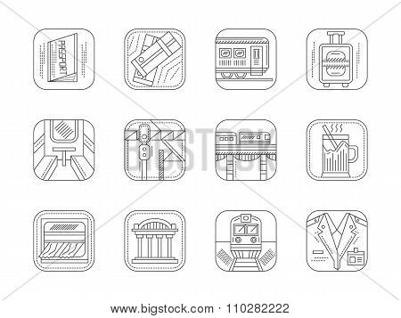 Train station and service flat line vector icons