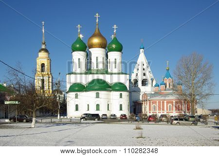 Kolomna, Russia - March, 2014: Assumption Cathedral In Kolomna. View Of Historical Center
