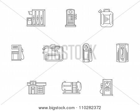 Filling and charge station flat line vector icons