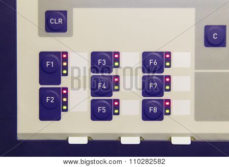 Buttons on control panel of electronic control device