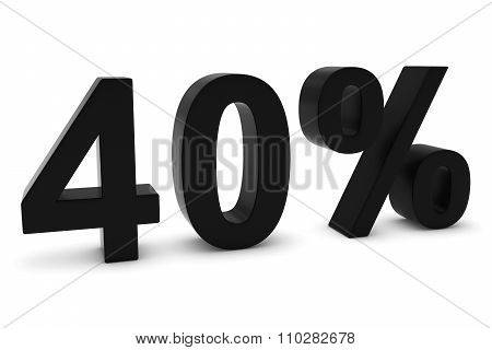 40% - Forty Percent Black 3D Text Isolated On White