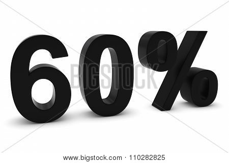 60% - Sixty Percent Black 3D Text Isolated On White