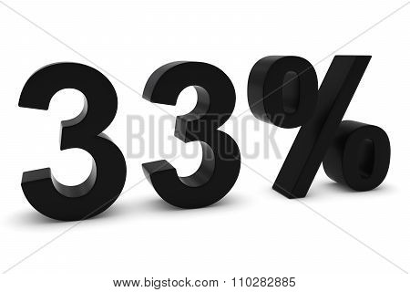 33% - Thirty Three Percent Black 3D Text Isolated On White