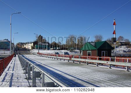 Kolomna, Russa - April, 2014: Movable Floating Bridge Through Moscow River In Kolomna Town