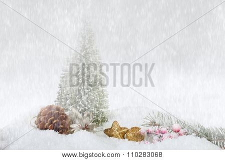 Snowfall, abstract Christmas background