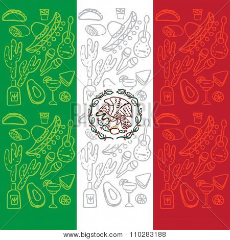 Mexican Flag With Traditional Elements Of Culture