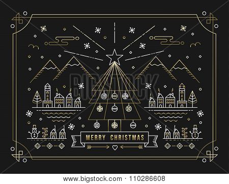 Merry Christmas Gold Outline Tree Decoration City