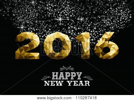 Happy New Year Gold Low Poly 2016 Greeting Card