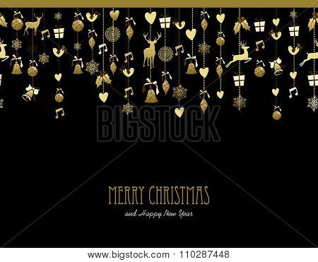 Merry Christmas Decoration Gold Snow Deer Music