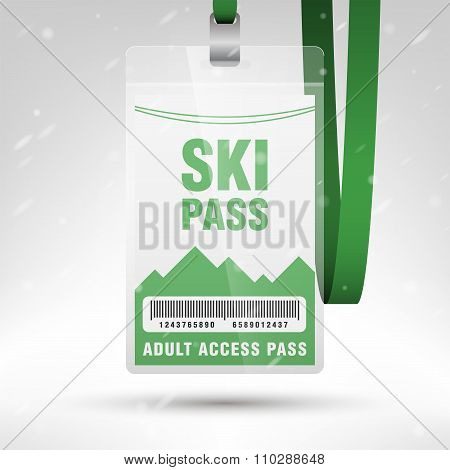 Ski Pass Vector Illustration. Blank Ski Pass Template With Barcode In Plastic Holder With Green Lany