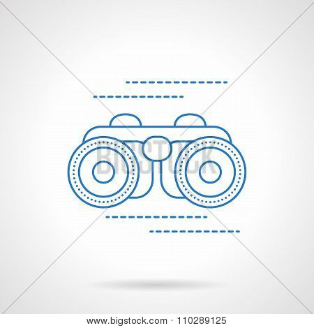 Blue flat line binoculars vector icon