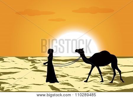 woman leads a camel