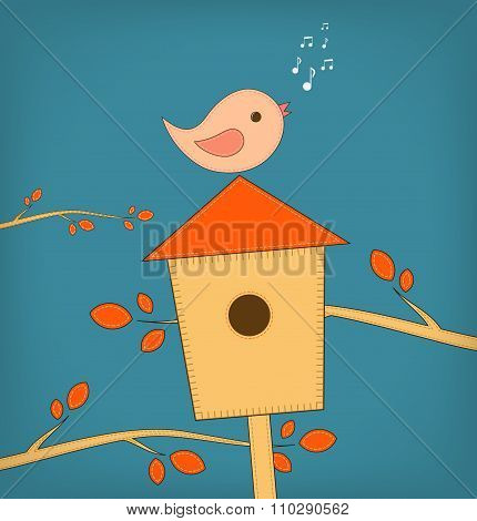 Simple card illustration of funny cartoon bird on bird house