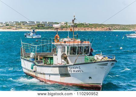Sagres, Portugal - Circa August 2013 - Portuguese Fisherboat On The Ocean