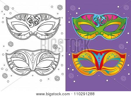 Coloring Book Of Christmas Carnival Masks