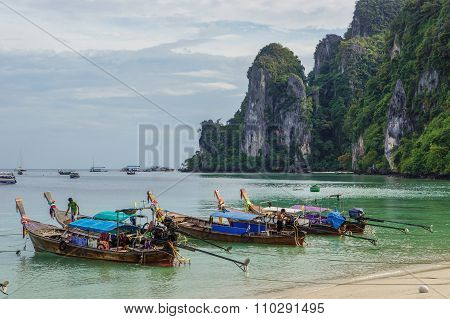 Phi Phi, Thailand - Circa December 2012 - Long Tail Boats On Phi Phi Island
