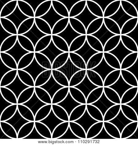 Interlocking, Intersecting Circles, Rings. Repeatable Background. Vector Art.