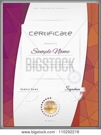 Gift Modern Certificate / Diploma / Award Template With Color Triangle Background And Elements In Ve