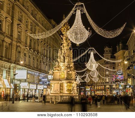 Graben Street In Vienna At Night During The Christmas Season
