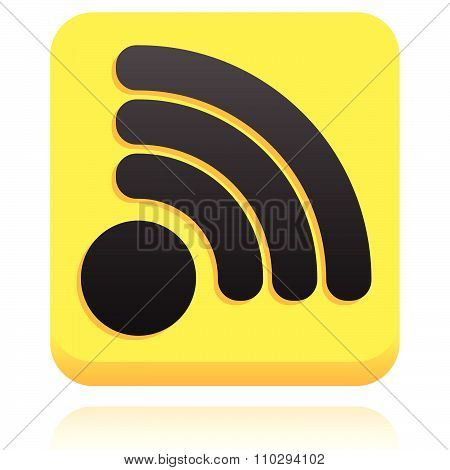 Rounded Square Icon, Button With Rss Or Generic Signal Symbol.