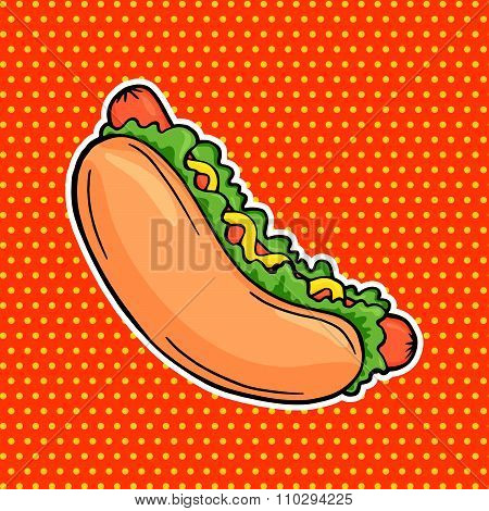 Pop Art Food Hot Dog Sandwich With Mustard And Lettuce, Vector Tasty Fast Food Banner In Comic Style