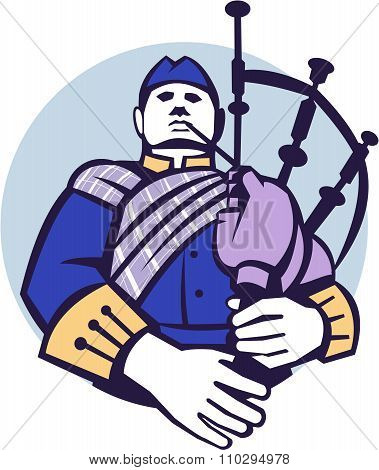Scotsman Bagpiper Player Circle Retro