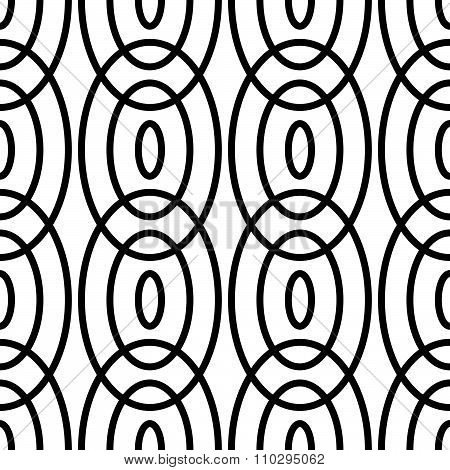 Interlocking, Intersecting Circles Seamless Pattern, Background. Vector Art