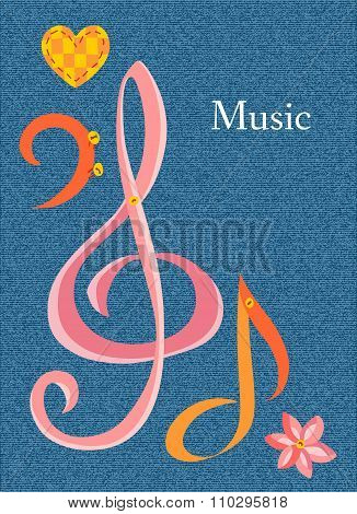 Postcard On Musical Theme With Place For Text. Vector Illustration