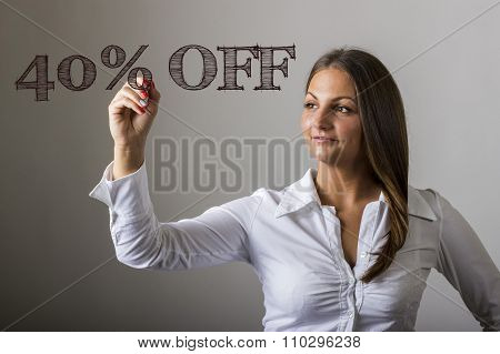 40 Percent Off - Beautiful Girl Writing On Transparent Surface