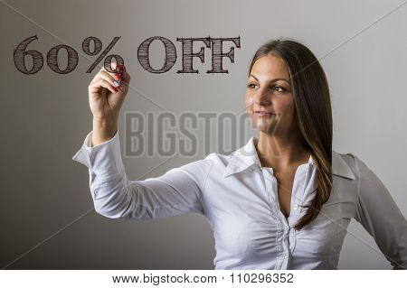 60 Percent Off - Beautiful Girl Writing On Transparent Surface