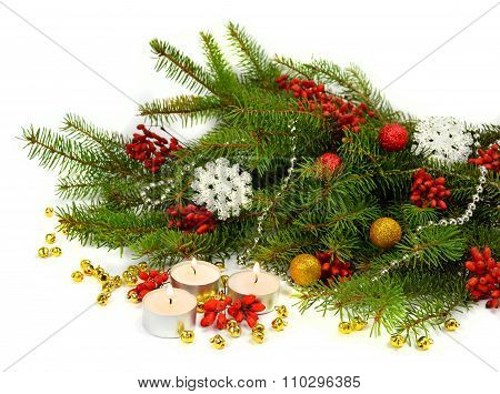 Festive Christmas Composition In A Rustic Style.