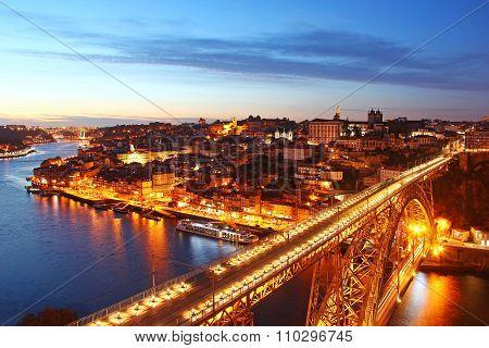 Dom Luis Bridge And Porto Old Town, Portugal