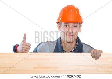 Construction Worker In Orange Hard Hat