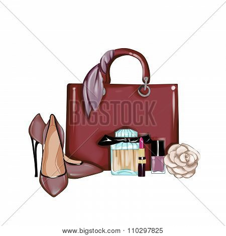 Hand drawn fashion illustration - Background - Fashion designer bag with shoes, cosmetics and rose f