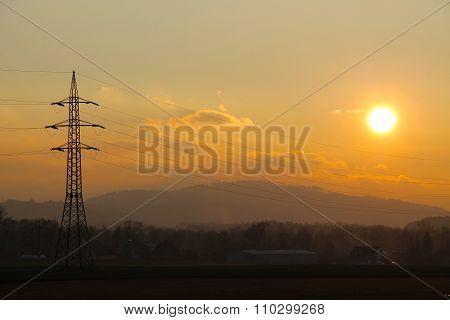 landscape at the sunset