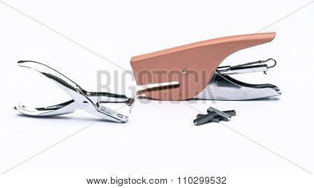 Pink Stapler, Steel Staple Remover, Metal Staple In White Background Office