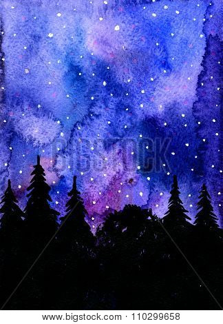 Wonderful Night Woodland Landscape Aquarelle