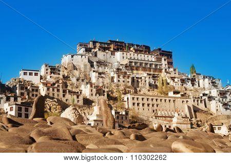 Buddhist heritage, Thiksey monastery or Gompa temple under blue sky. Leh, Ladakh, India.