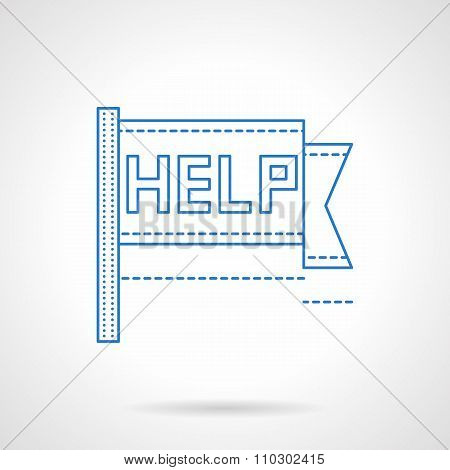 Help pennon blue flat line vector icon