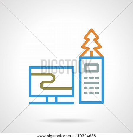 Colored simple line online Christmas vector icon