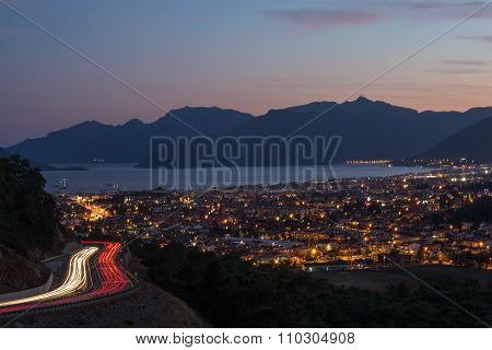 Evening view of Marmaris on Turkish Riviera from the road.